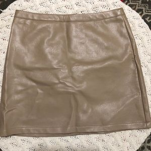 Tan Faux Leather Skirt